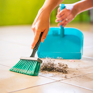 A woman sweeping up dust bunnies